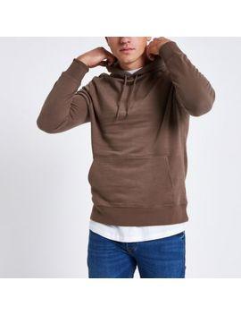 Brown Long Sleeve Hoodie by River Island