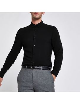 Black Button Up Long Sleeve Shirt by River Island