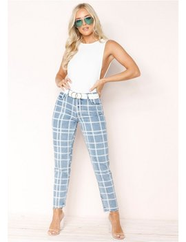Chelsea Denim Checked Jeans by Missy Empire
