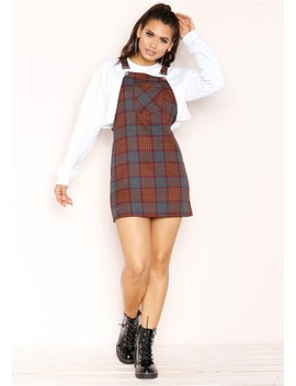 Adele Rust Checked Dungaree Dress by Missy Empire
