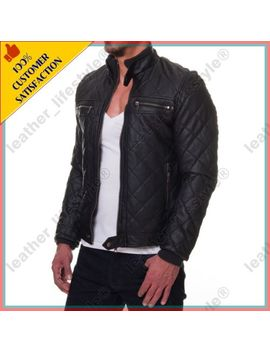 Leather Jacket Mens Real Lambskin Slim Fit Motorcycle Quilted Biker Black Ss28 by Leather Lifestyle