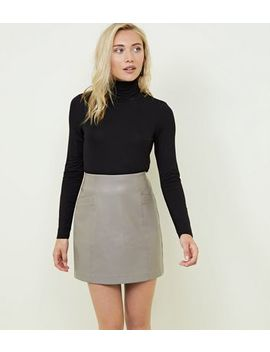 Petite Mink Faux Pocket Leather Look Mini Skirt by New Look