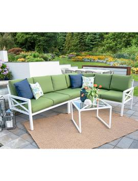 Blakely White 5 Piece Aluminum Outdoor Sectional Set With Green Cushions by Leisure Made