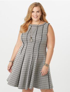 Plus Size Seamed Fit And Flare Knit Dress by Dressbarn