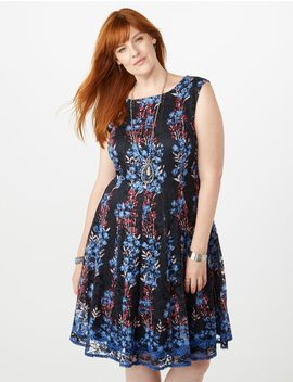 Plus Size Seamed Floral Lace  Fit And Flare Dress by Dressbarn