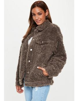 Chocolate Oversized Shaggy Borg Trucker Jacket by Missguided