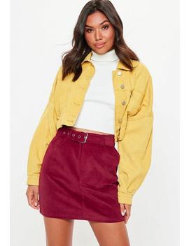 Burgundy Corduroy Buckle Detail Mini Skirt by Missguided