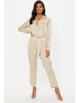 Nude Peached Satin Utility Jumpsuit by Missguided