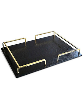Embossed Rectangular Tray With Rail Handles by Jay Imports