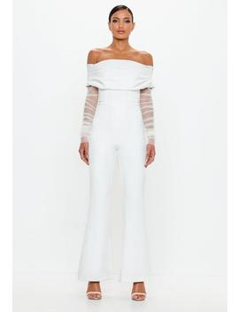 Peace + Love White Bardot Flare Leg Jumpsuit by Missguided