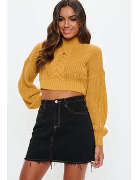 Mustard Balloon Sleeve Cable Knit Cropped Jumper by Missguided