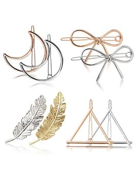 Fascigirl Hair Clip For Women 8 Pcs Hair Barrettes Hair Pins Moon Triangle Circle Butterfly Hair Clips For Girls Thick Hair Styling (Gold And Silver) (A Gold And Silver) by Fascigirl