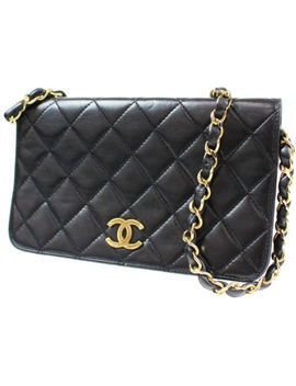 Chanel Quilted Matelasse Chain Shoulder Bag Black Leather Vintage Auth #L180 M by Chanel
