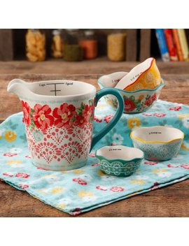 The Pioneer Woman Vintage Floral 4 Piece Measuring Bowl With 4 Cup Measuring Cup, 5 Piece Set by The Pioneer Woman
