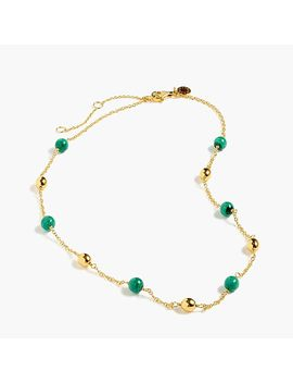 Demi Fine 14k Gold Plated Malachite Beaded Necklace by J.Crew