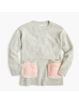 Girls' Fur Trimmed Tunic Sweater by J.Crew