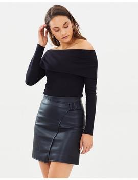 Faux Leather Wrap Skirt by Karen Millen