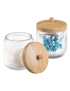 Metro Decor M Design Bathroom Vanity Canister Jar For Cotton Balls, Swabs, Cosmetic Pads, 2 Piece, Clear/Natural by Metro Decor