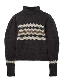 Demie Cropped Intarsia Wool Blend Sweater by Isabel Marant