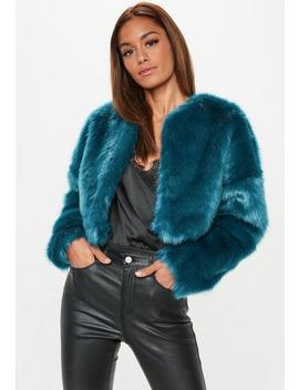 Teal Collarless Faux Fur Coat by Missguided