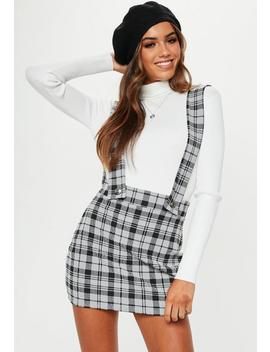 Grey Check Braces Mini Skirt by Missguided