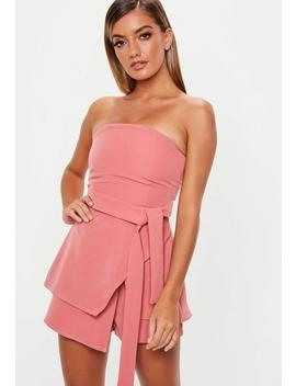 Pink Tie Waist Bandeau Skort Playsuit by Missguided
