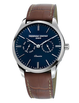 Men's Swiss Chronograph Classic Brown Leather Strap Watch 40mm by Frederique Constant