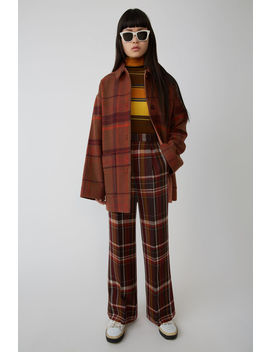 Madras Trousers Brown/Burgundy by Acne Studios