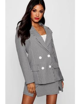 Gingham Double Breasted Blazer by Boohoo