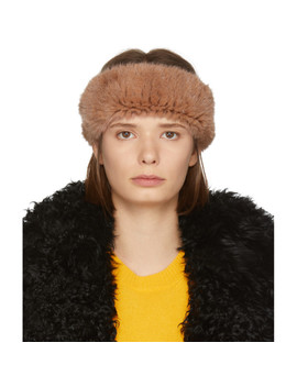 Orange Knitted Mink Headband by Yves Salomon