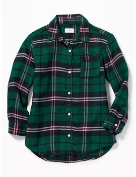 Boyfriend Button Front Plaid Tunic For Girls by Old Navy