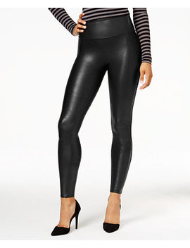 Women's  Petite Faux Leather Tummy Control Leggings by Spanx