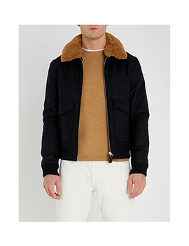 Padded Wool Blend And Shearling Jacket by Sandro