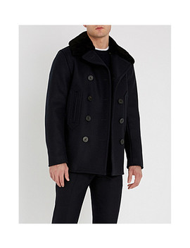 Shearling Trim Wool Blend Peacoat by Sandro