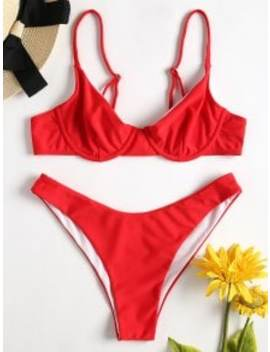 Cami High Cut Bikini   Love Red S by Zaful