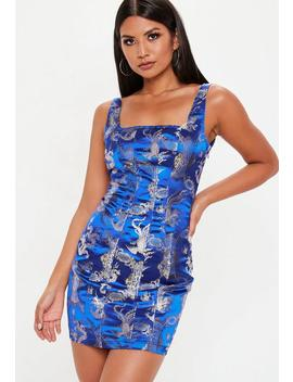Blue Oriental Jacquard Dress by Missguided