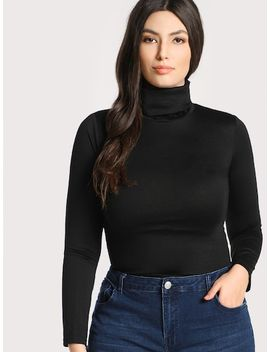 Plus High Neck Solid Skinny Tee by Shein
