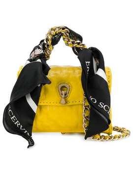 Ermanno Scervinomini Scarf Embellished Bag Home Women Ermanno Scervino Bags Mini Bagsblack Leather Nirah Studded Bootschecked Dressmini Scarf Embellished Bag by Ermanno Scervino