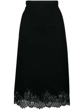 Ermanno Scervinolace Trimmed Fitted Skirthome Women Ermanno Scervino Clothing Fitted Skirtsblack 60 Lace Up Leather Bootslogo Printed T Shirtmarbled Single Breasted Coatlace Trimmed Fitted Skirt by Ermanno Scervino