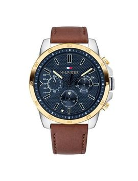Tommy Hilfiger   Men's Brown Multifunction Leather Strap Watch 1791561 by Tommy Hilfiger