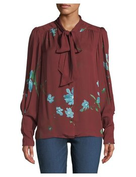 Angeletta Floral Tie Neck Silk Blouse by Neiman Marcus