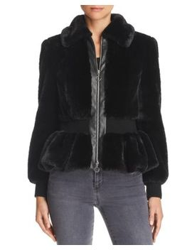 Faux Fur Peplum Jacket by Rebecca Taylor