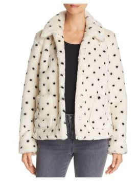 Dot Print Faux Fur Coat by La Vie Rebecca Taylor