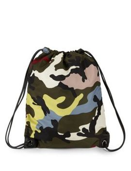 Camo Drawstring Backpack by Valentino Garavani