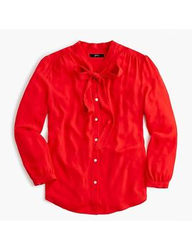 Tie Neck Button Up Shirt by J.Crew