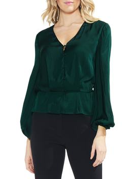 Peplum Hem Button Down Blouse by Vince Camuto