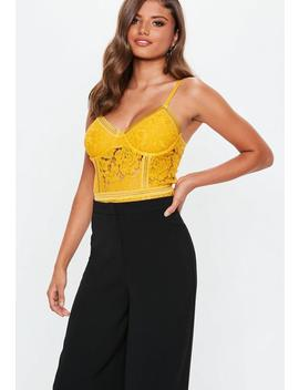 Mustard Sport Tape Lace Bodysuit by Missguided