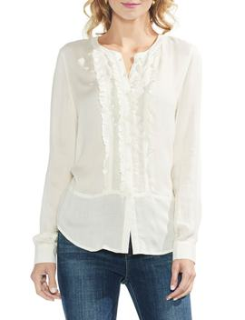 Ruffle Front Button Up Top by Vince Camuto