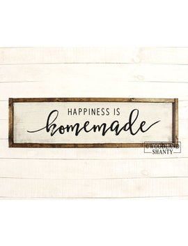 Happiness Is Homemade | Happiness Is Homemade Sign | Wood Framed Rustic Vintage Farmhouse Inspired Collage Wall Art Home Decor by Etsy