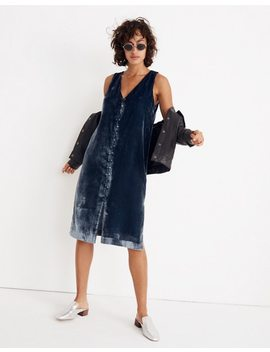 Velvet Button Front Midi Dress by Madewell